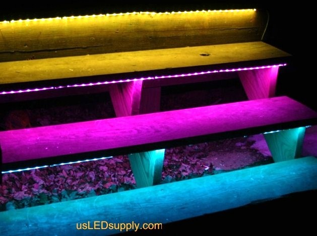 Outside stairs with waterproof RGB Flexible LED Strip are great when you get home at night!