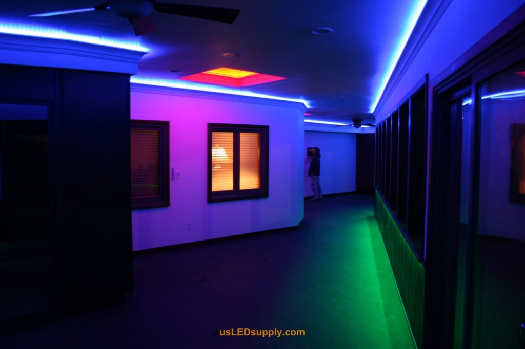 hallway accent lighting with rgb flexible led strips and 4 zones of color accent lighting ideas