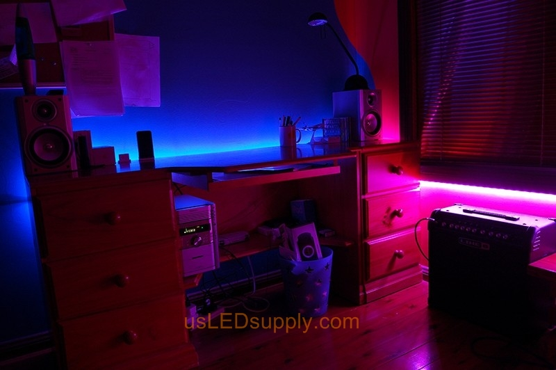Kid's Room set aglow with RGB LED Lighting.
