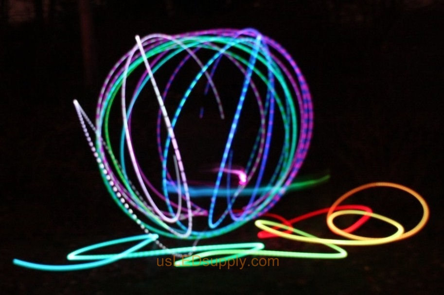 Light Art Circles made with color changing RGB LED on a slow fade.