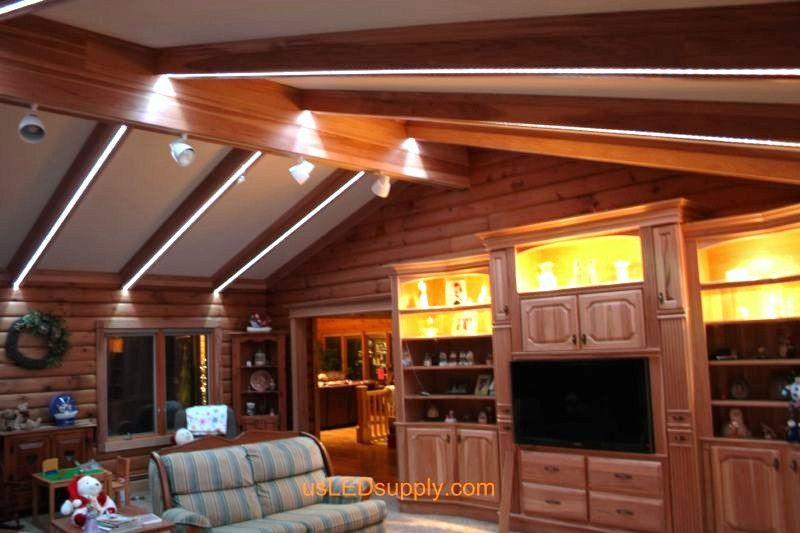 Livingroom with RGB Flexible LED Strips running along the beams for lighting and color chaning effects.
