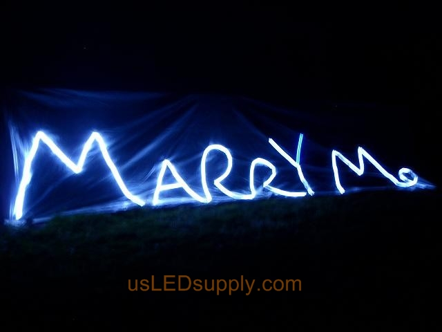 Marry me proposal LED lights from the air.