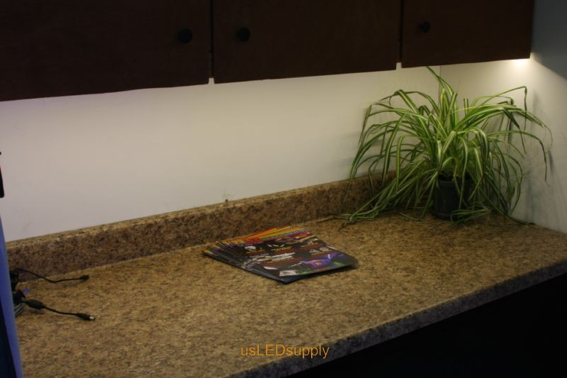 Undercabinet LED Lighting with a warm white flexible LED Strip.