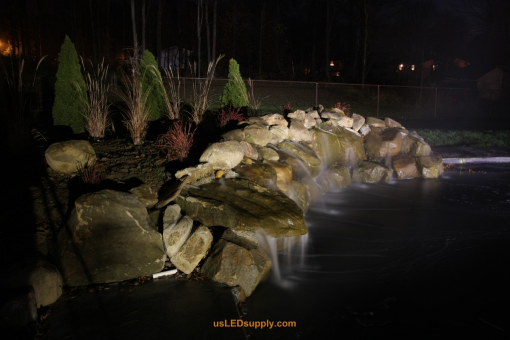 White LED Spot focused on waterfall.