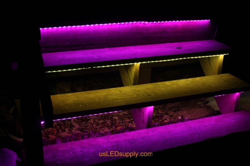 RGB LED Strips light up outdoor stairs.