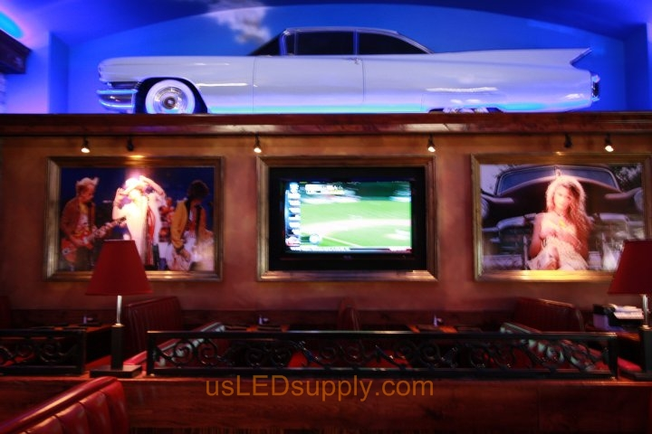 Blue 3528 flexible LED strips light up an old cadillac as decoration in a country restaurant.