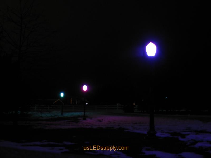 DIY Driveway post lights utilizing RGB LED Flexible Strip and DMX Controllers.