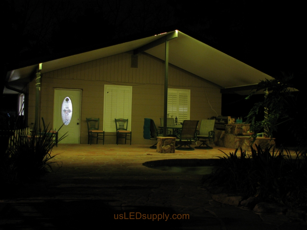 Florida garage patio uses LED lighting and becomes the perfect spot for catered events.