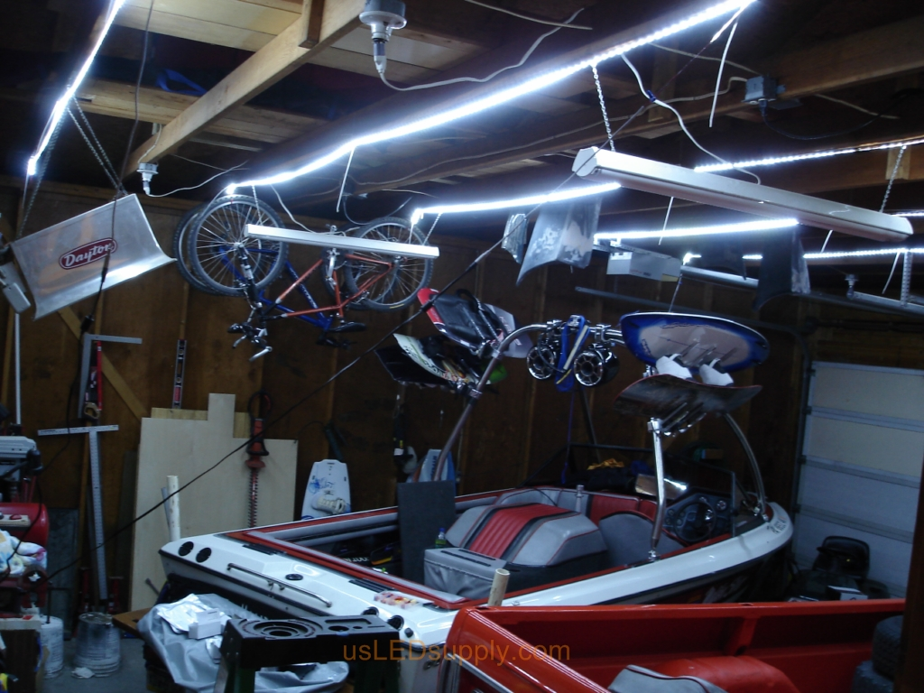 Garage where cool white flexible LED strips were used to replace old fluorescent fixtures.