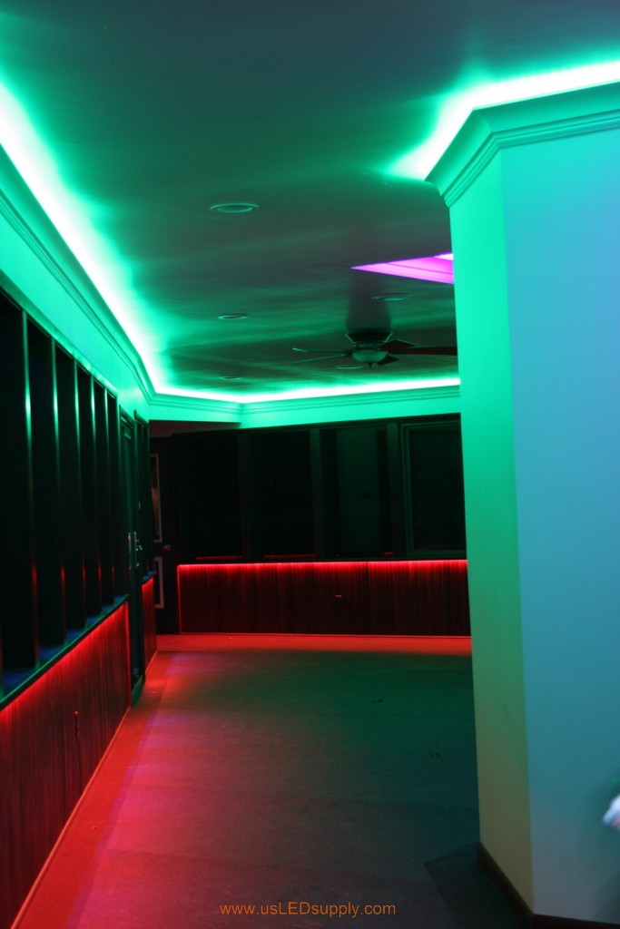 Hallway Accent Lighting with RGB Flexible LED Strips and 4 zones of color.