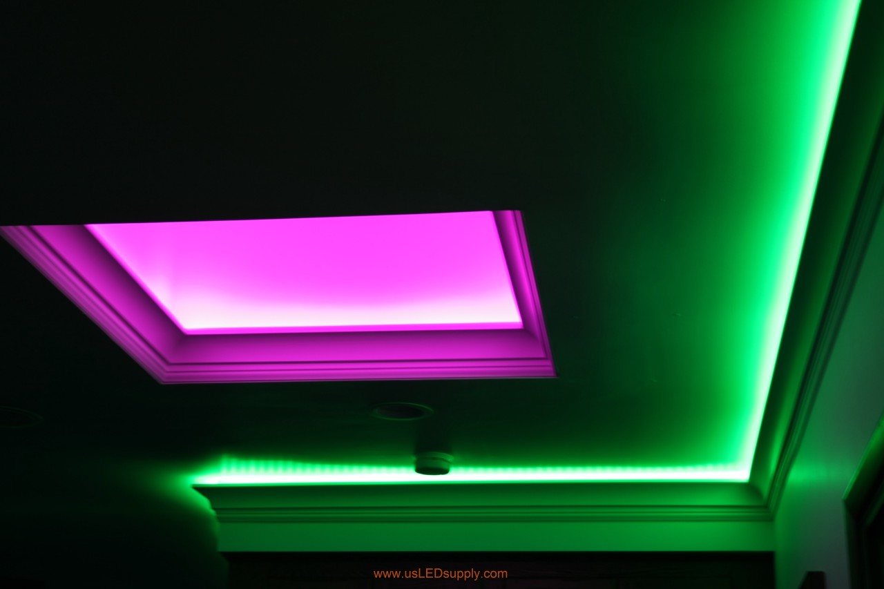 Skylight with RGB LED Strips facing up.