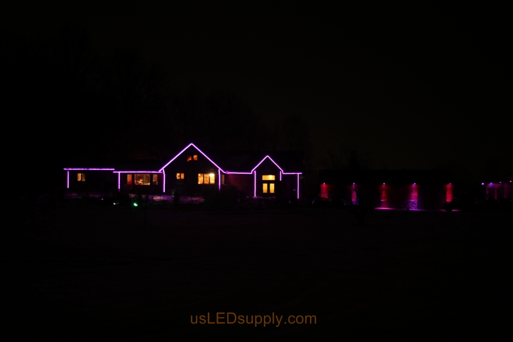 RGB LED house outline and garage puck lights.
