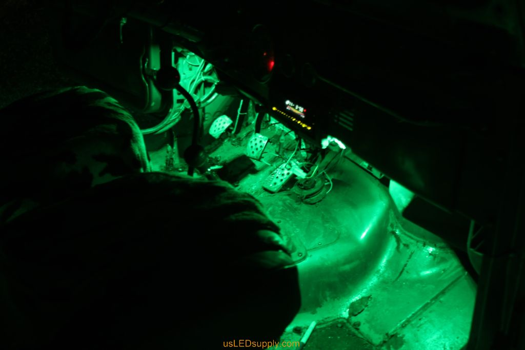 Green LED Module lights up under the dash in a jeep.