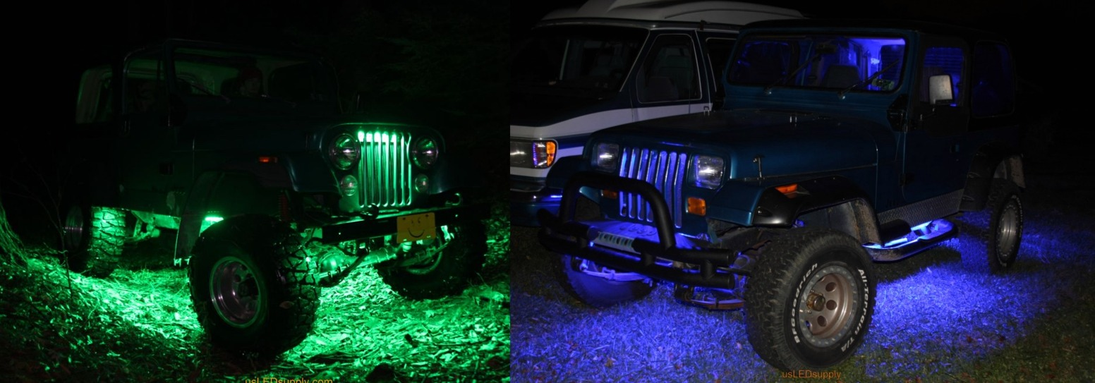 Two jeeps with green and blue LED lighting under car and in grill.