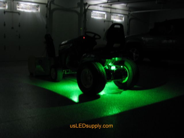 John Deere Outdoor Lighting: John Deere Tractor with green LED Modules lighting up the ground.,Lighting