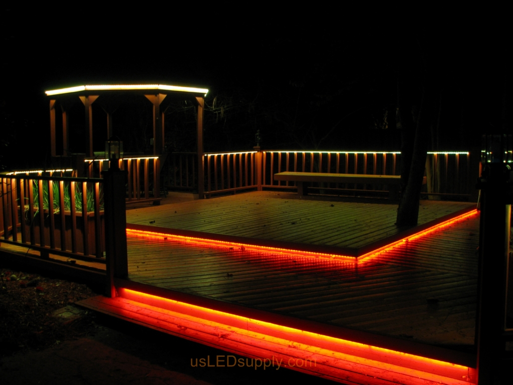 deck lighting. LED Deck Lighting With RGB Flexible Strips Under Railings And Platforms.