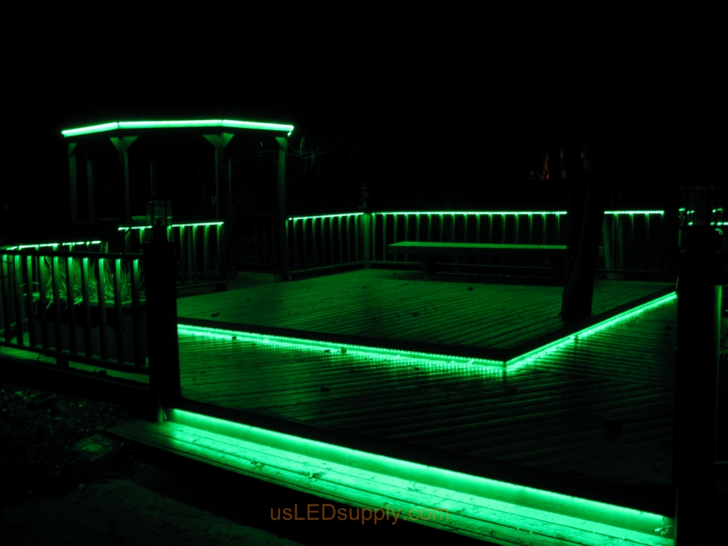 LED Deck Lighting with RGB Flexible LED Strips under railings and deck platforms.