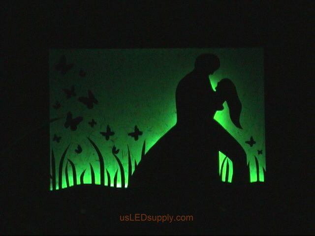 RGB LED silhouette art project with couple in love set on green color.