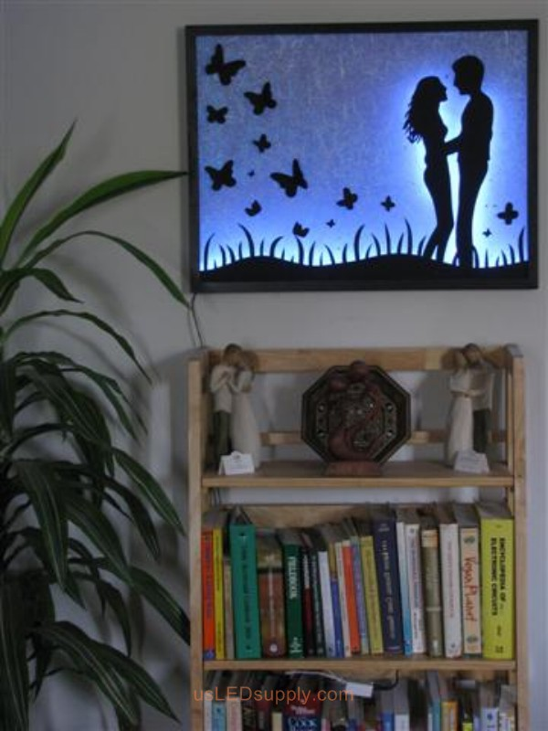 LED Silhouette Art set aglow with color Changing RGB LED Lights.