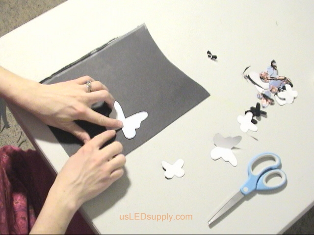 Cutting out different sizes and shapes of butterflies.