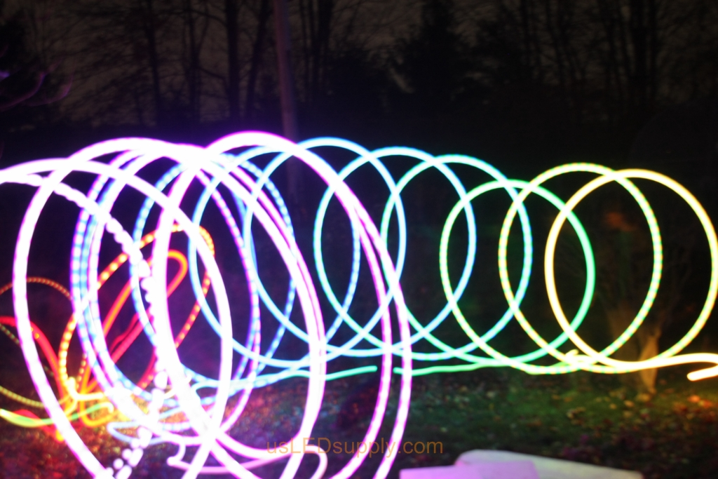 Light Art Circles made with color changing RGB LED inside a ping pong ball and set on a slow fade.