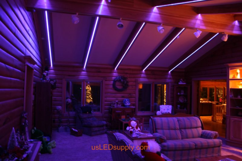 Livingroom with RGB Flexible LED Strips set on light purple color