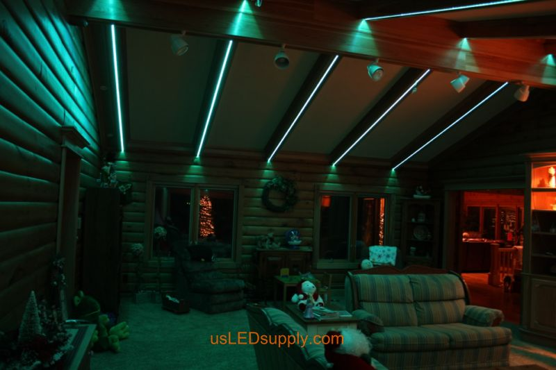Livingroom with RGB Flexible LED Strips set on green color