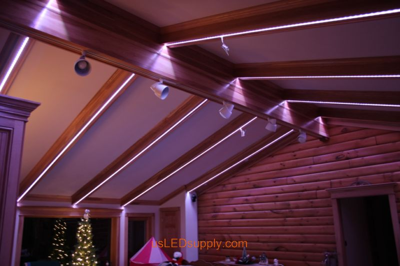 Livingroom With RGB Flexible LED Strips Set On Baby Pink Color