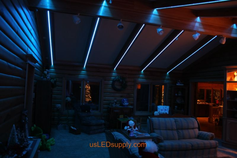 Livingroom with RGB Flexible LED Strips set on blue color