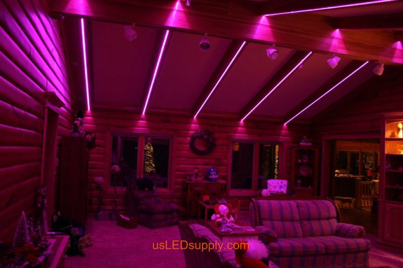Livingroom with RGB Flexible LED Strips set on pink color