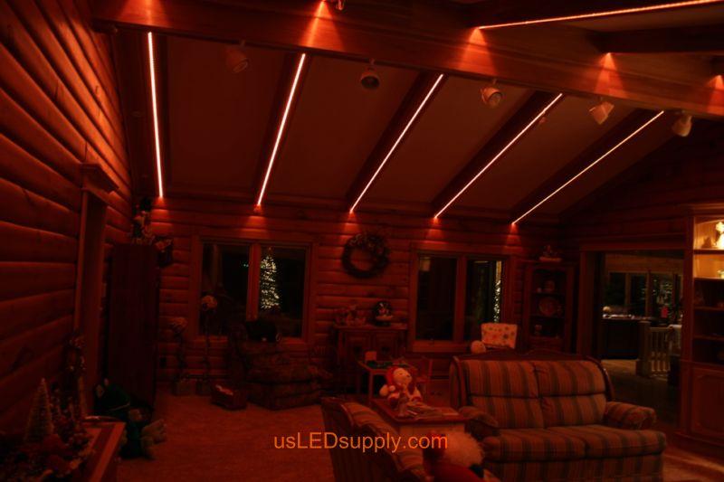 Livingroom with RGB Flexible LED Strips set on light red orange color