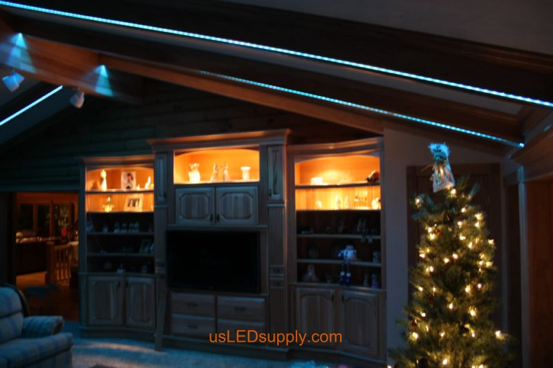 Livingroom with RGB Flexible LED Strips set on light blue color