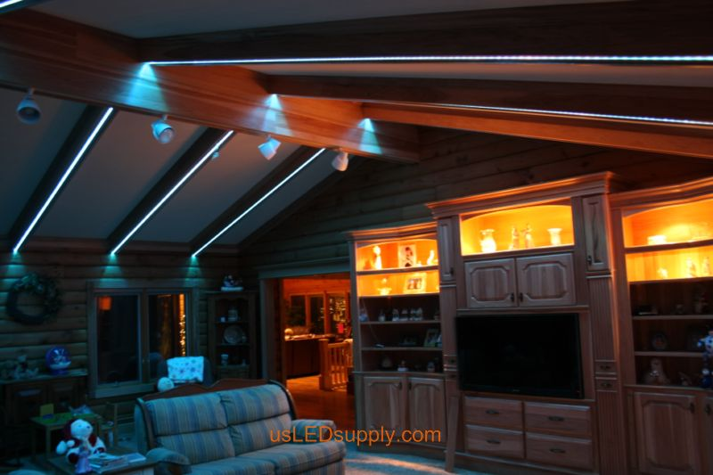 Livingroom with RGB Flexible LED Strips set on aqua blue color