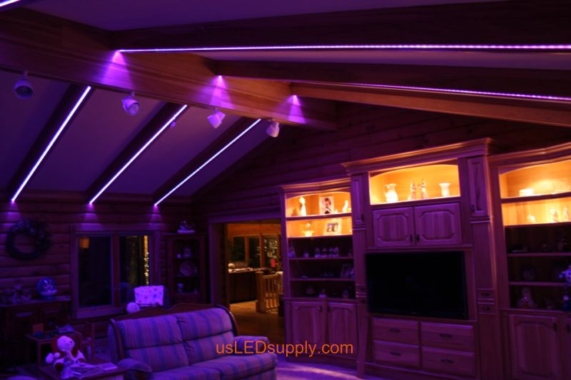 Livingroom With RGB Flexible LED Strips Set On Pink Purple Color