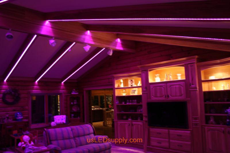 Livingroom with RGB Flexible LED Strips set on pink color