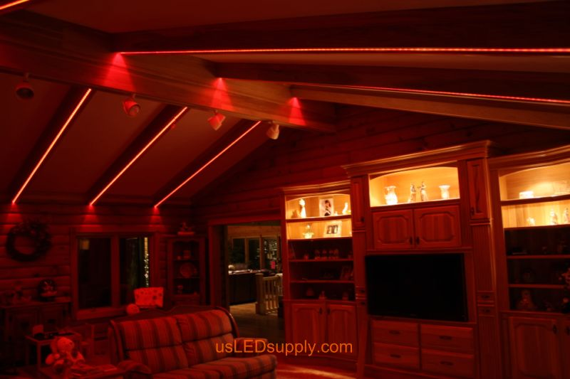 Livingroom with RGB Flexible LED Strips set on red color