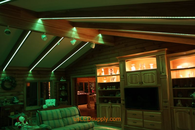 Livingroom with RGB Flexible LED Strips set on light green color