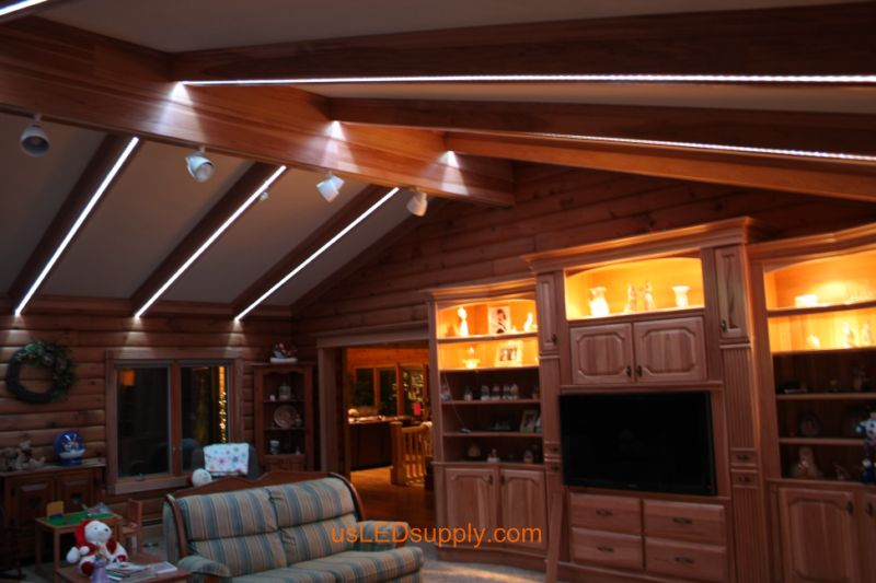 Livingroom with RGB Flexible LED Strips set on white color