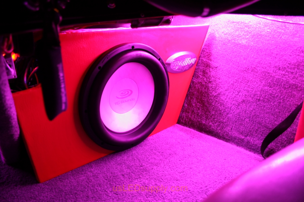 Inside of a Malibu Sunsetter decked out with color changing RGB LED Lights.