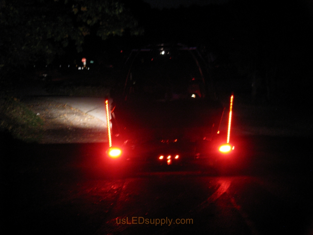 LED lit Pylons change to red when truck brakes.