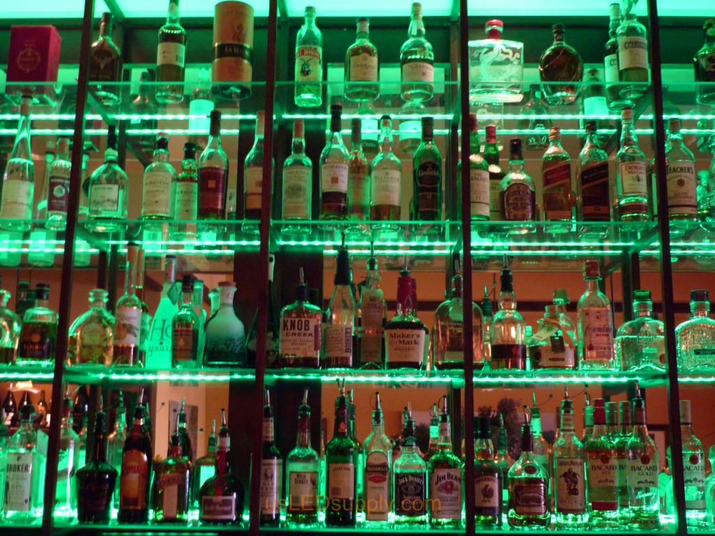 Bar Glass Shelves With Lights - Glass Designs