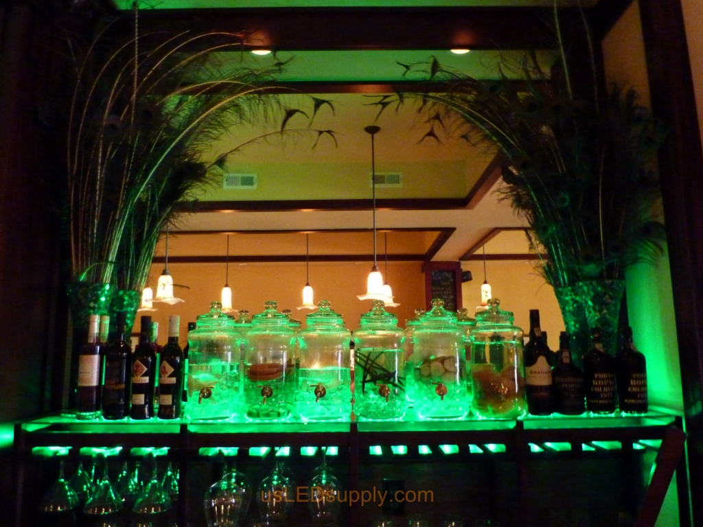 Oregon Bar Wtih Color Changing RGB Flexible LED Strips Lighting Up The  Glass Bar Shelving For