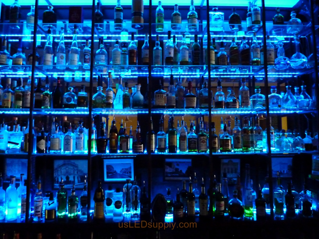 ... Glass Shelving In Bar With RGB Flexible LED Strips Behind Them Makes  The Glass Shelving And