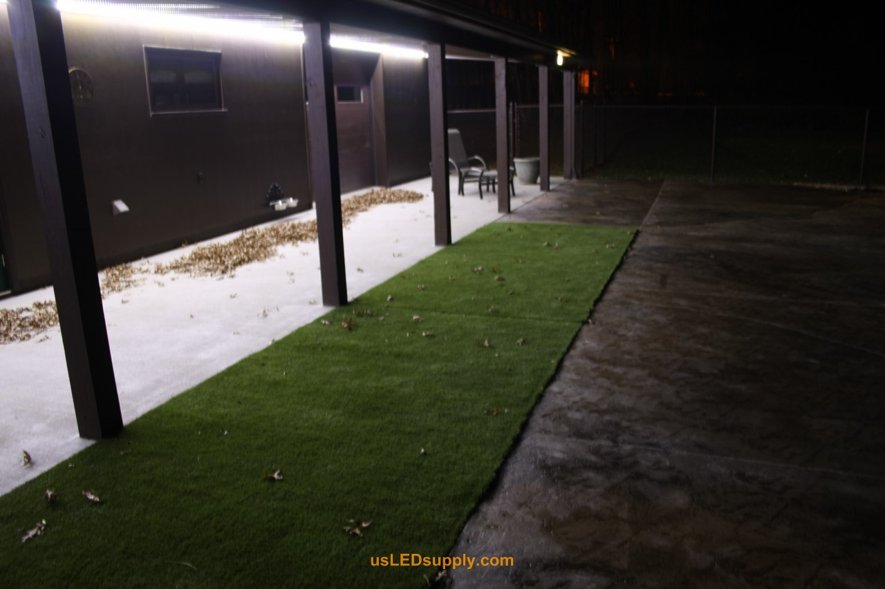 Outside Patio with cool/natural white flexible LED Strip for lighting.