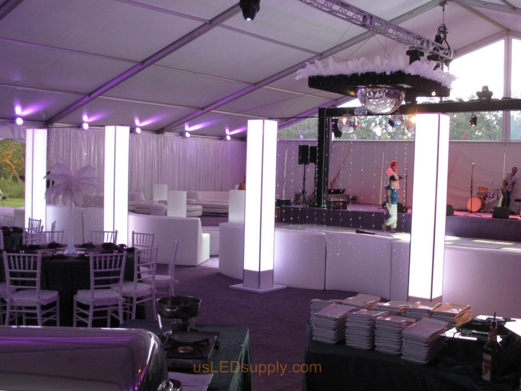 Elegant Reception Party using flexible LED strips inside mood lighting pillars.