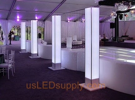 Reception with beautiful LED strip mood lighting effects.