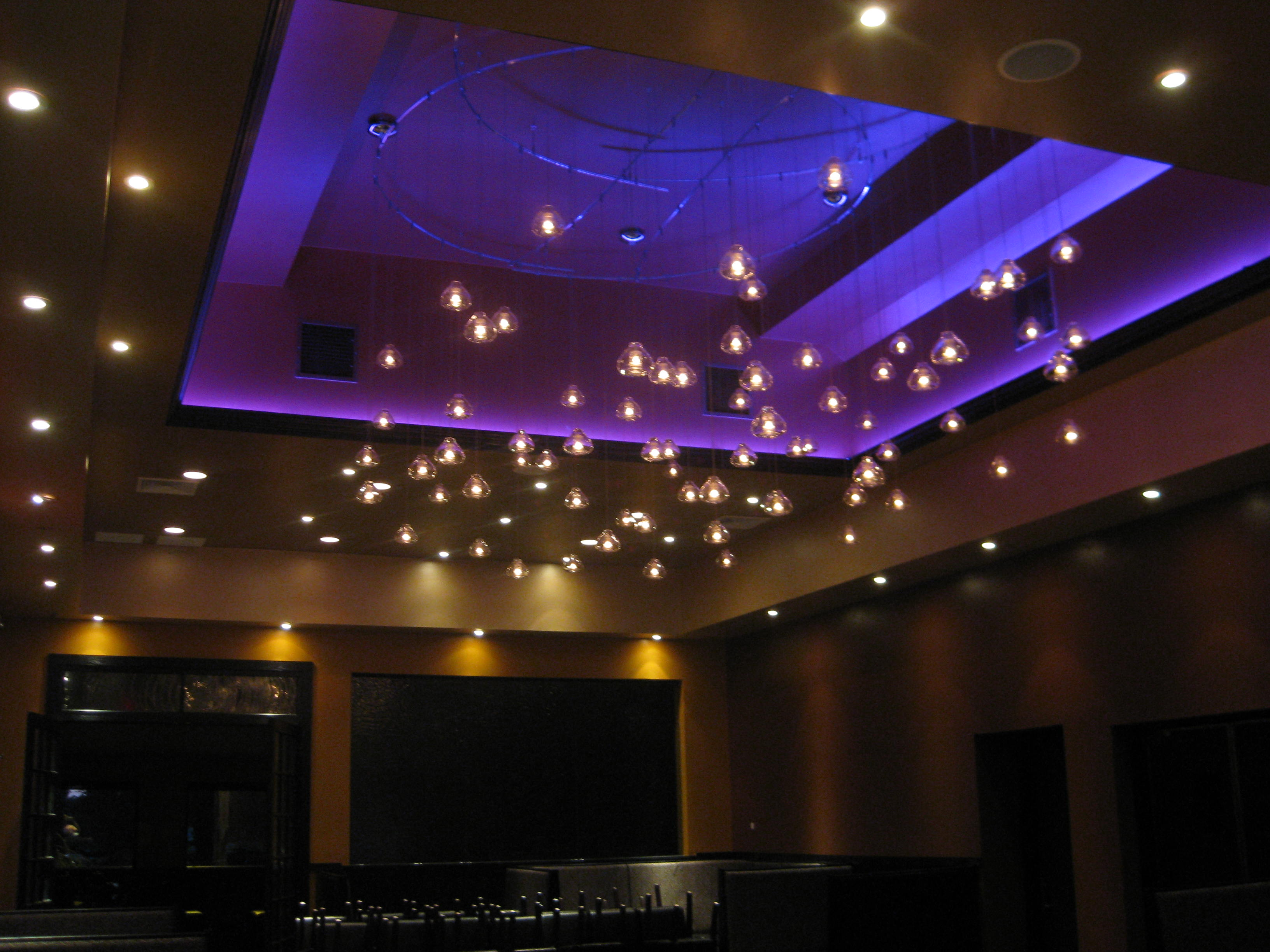 Luchento's Ristrante with RGB LED Lights used in the seating area.
