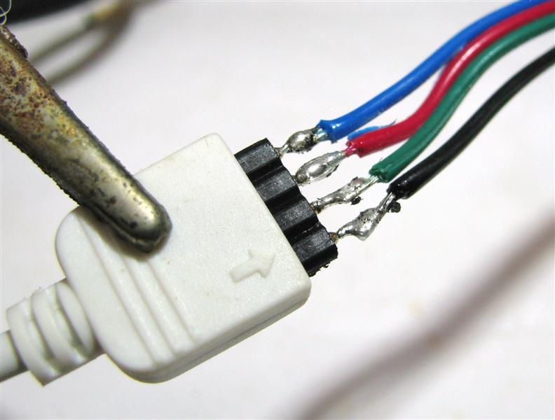 Solder to wires attached to Strip Connecting to IR RGB Controller with 4 Pin Connector