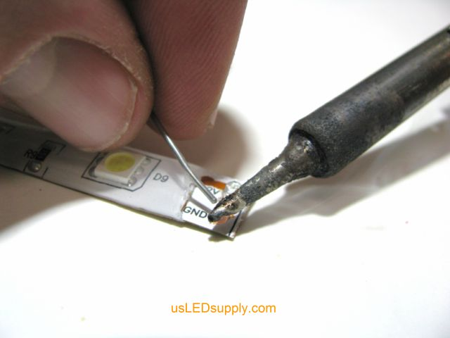 Pre tin solder pads on the end of the single color flexible LED strip with Rosin-Cor Solder