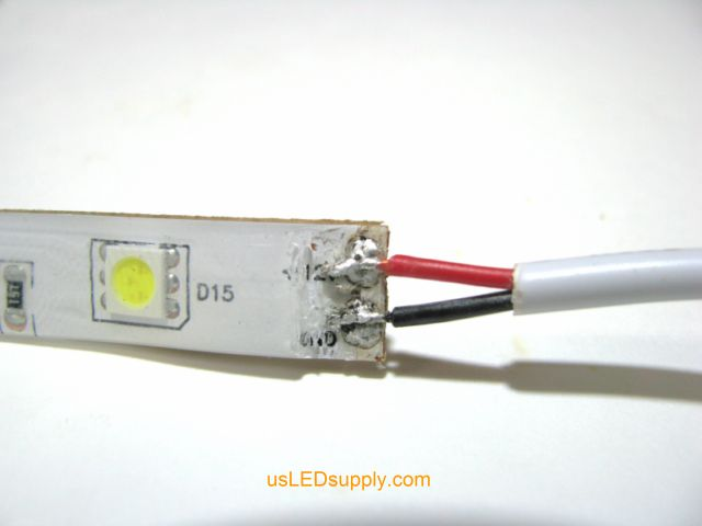 Barrel Plug soldered onto the end of single color flexible LED strip